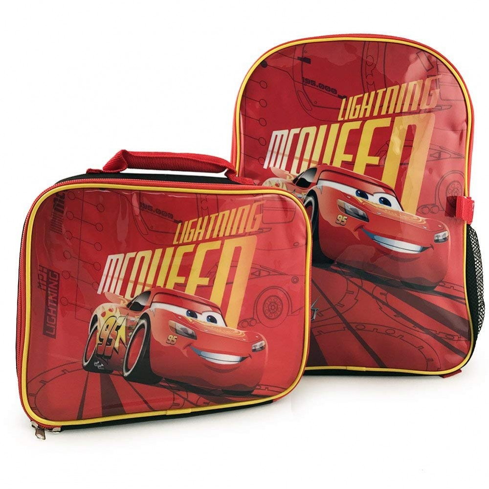93ff6c3d3e9 Disney Pixar Cars 3 Lightning McQueen Backpack with Detachable Insulated  Lunch Kit 15   Full