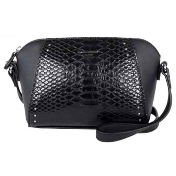David Jones Paris Mini Crossbody Crock Mock Handbag Black
