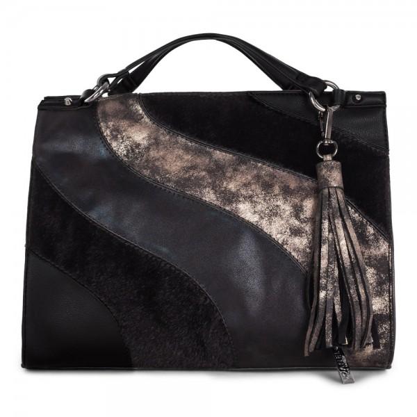 Joanel Haute Coco Satchel Handbag Black Pewter