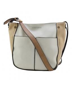 KGB Two Tone Shoulder Handbag Sarah Convertable Crossbody Cream Sand