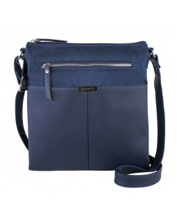 Roots 73 Dual Compartment Crossbody Handbag With PU Trim Navy