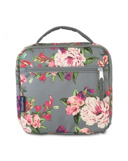 JanSport Lunch Break Box Bag Grey Bouquet Floral