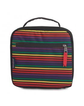JanSport Lunch Break Box Bag Rainbow Stripes
