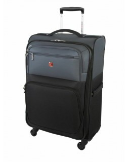 "Swiss Gear Exposure 24"" Soft Side Spinner Expandable Luggage Black Grey"