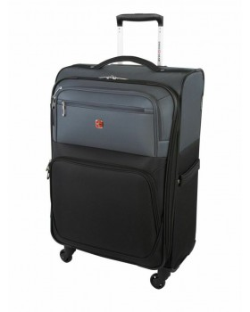 """Swiss Gear Exposure 24"""" Soft Side Spinner Expandable Luggage Black Grey"""