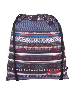 Roots 73 Drawstring Backpack Shoe Bag Grey/Blue Aztec