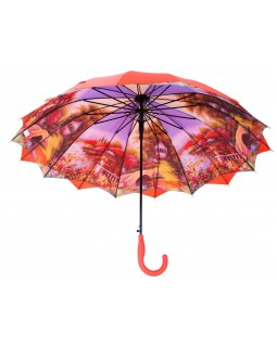 Austin House Stick Umbrella Double Canopy Burnt Orange
