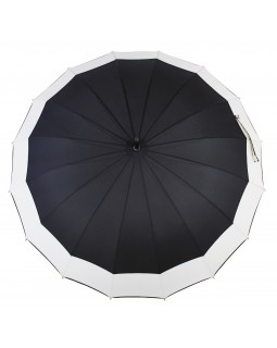 Knirps Belami Stick Umbrella with Shoulder Strap Black/White