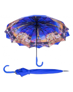 Austin House Stick Umbrella Double Canopy Royal Blue