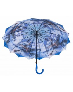 Austin House Stick Umbrella Double Canopy Blue