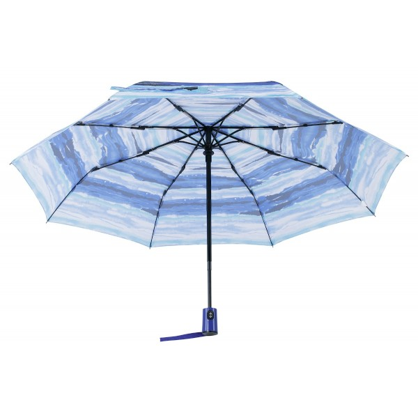 Knirps Belami Folding Telescopic Umbrella Blue Aquarelle Stripes Print