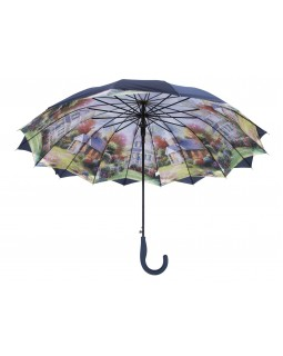 Austin House Stick Umbrella Double Canopy Navy Blue