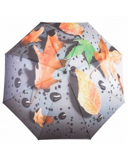 Knirps Belami Stick Umbrella Automatic Orange Leaf