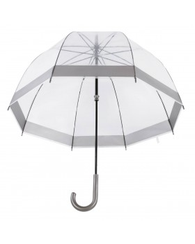 Knirps Belami Clear Dome Stick Umbrella Pewter Border